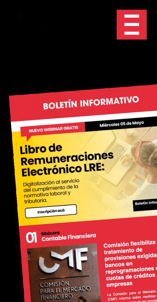 Boletín informativo contabilidad remuneraciones factura electrónica chile suscríbete